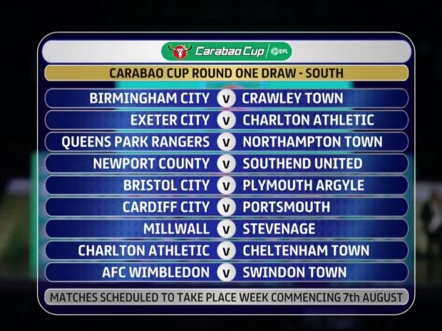 Carabao Cup Draw, League Cup, 1st Round, Charlton Athletic, Drawn Twice, Exeter City, Cheltenham Town.