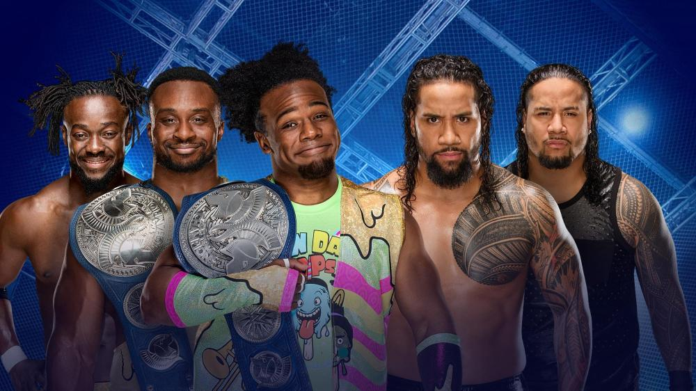 WWE, Hell in a Cell, 2017, The New Day, The Usos, Kofi Kingston, Big E, Xavier Woods, Jimmy Uso, Jay Uso. SmackDown Tag Team Championships