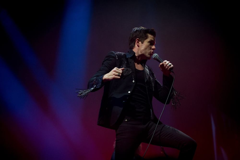 The Killers, singer, front man, Brandon Flowers, Leeds, First Direct Arena